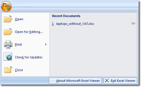 Excel Viewer 2007 Office Button